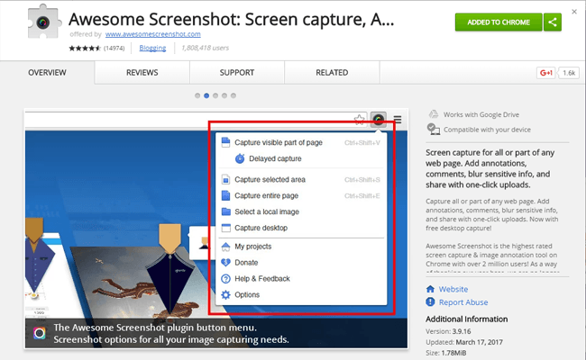 Awesome Screenshot Chrome Uzantısı