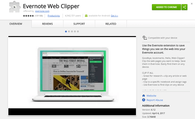 Evernote Web Clipper Chrome Uzantısı
